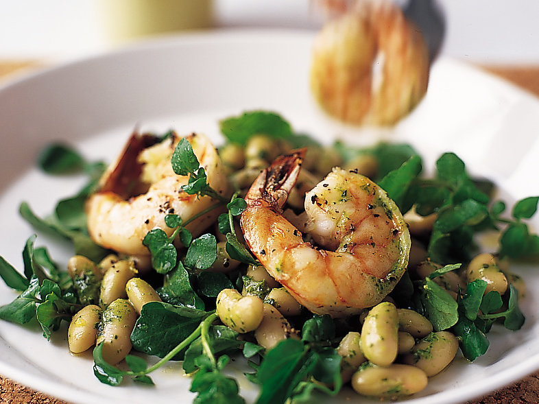 Shrimp Salad with Watercress, Cannellini Beans and Mint