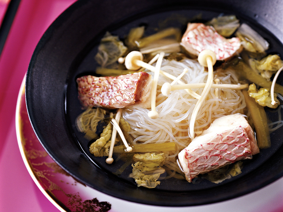 Sour Fish Soup with Napa Cabbage and Enoki Mushrooms