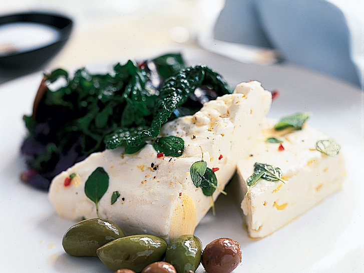 Warm Feta with Sautéed Greens