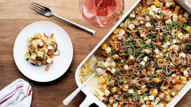 Food & Wine: Root-Vegetable Hot Dish with Parsnip Puree