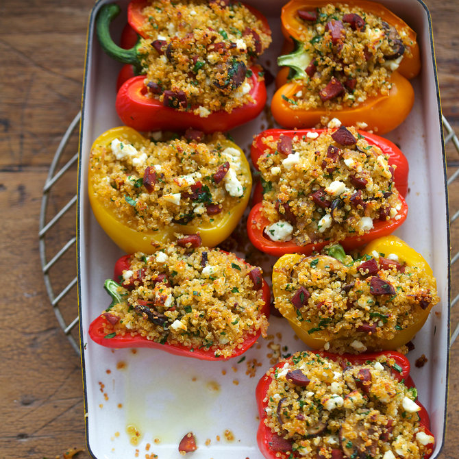 Food & Wine: Stuffed Peppers with Quinoa, Chorizo and Mushrooms