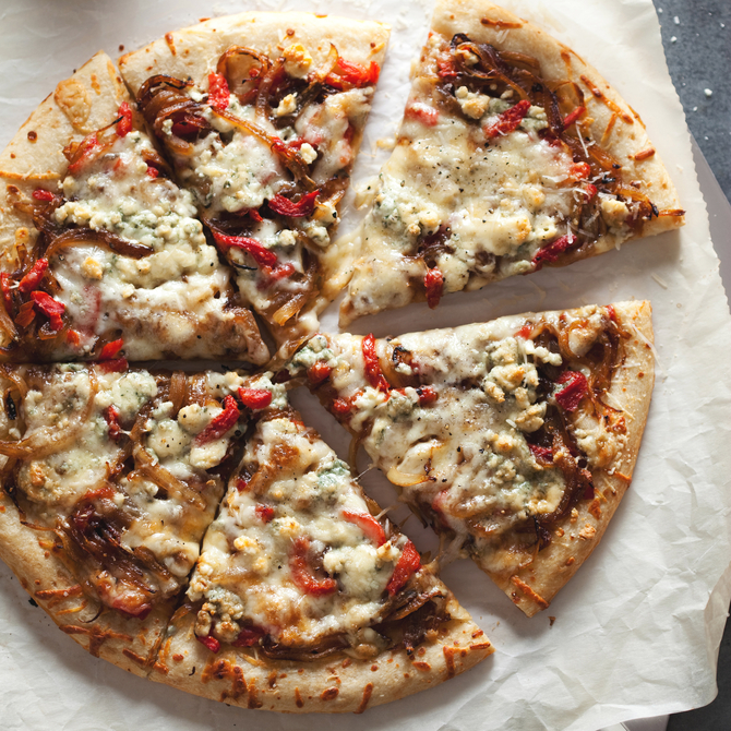 Food & Wine: Three-Cheese Pizza with Caramelized Onions and Pimientos