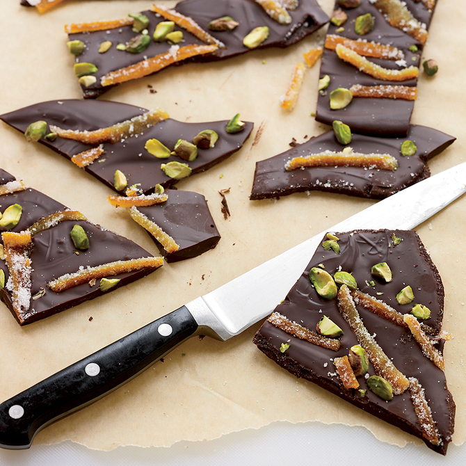 Food & Wine: Bittersweet-Chocolate Bark with Candied Orange Peels
