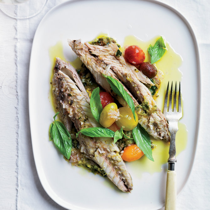 Food & Wine: Salt-Baked Branzino with Zucchini Pistou