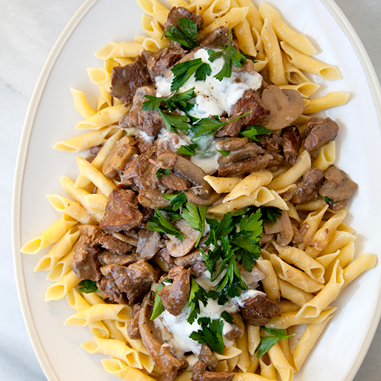 Food & Wine: Slow Cooker Beef Stroganoff with Garganelli Pasta