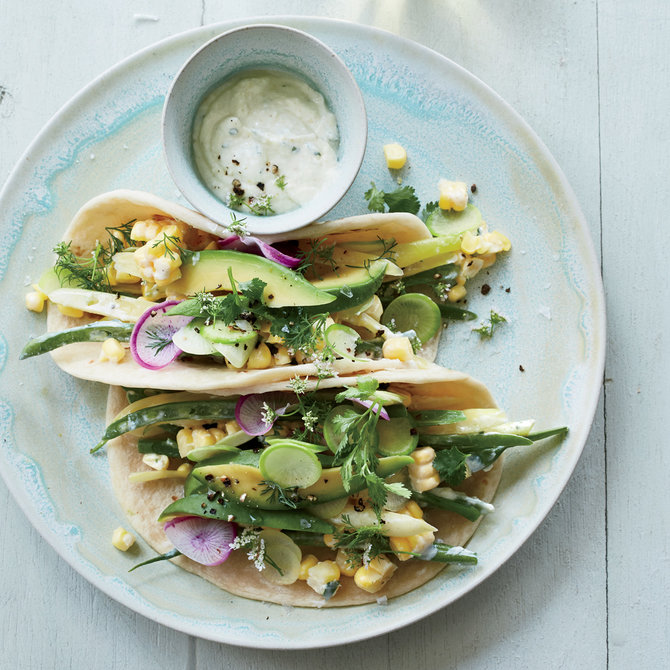 Food & Wine: Green Market Tacos with Corn Crema