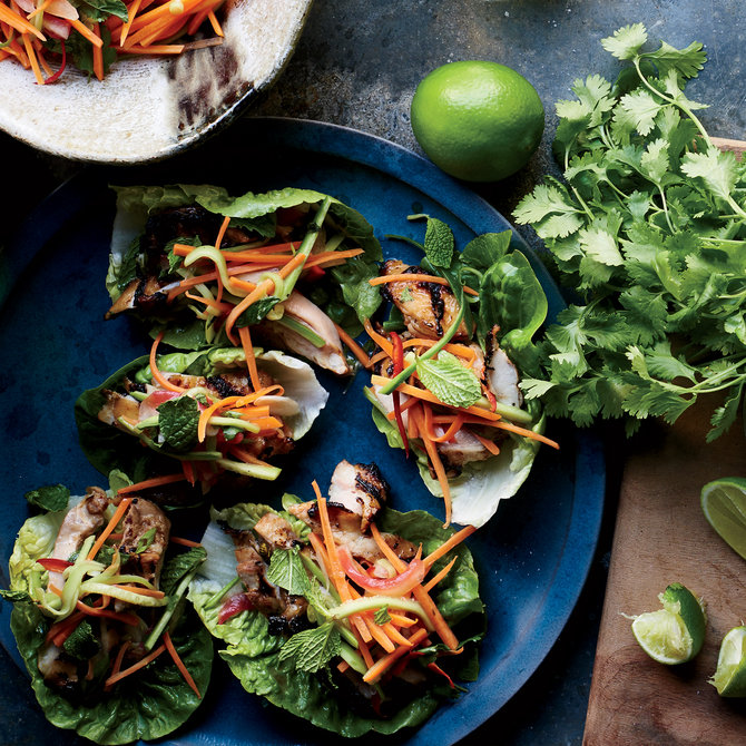 Food & Wine: Grilled Chicken Lettuce Wraps with Pickled Watermelon Rind Slaw