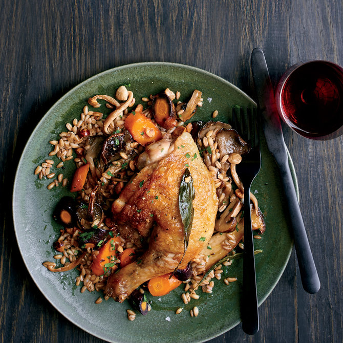 Food & Wine: Pan Roasted Chicken with Warm Farro Salad