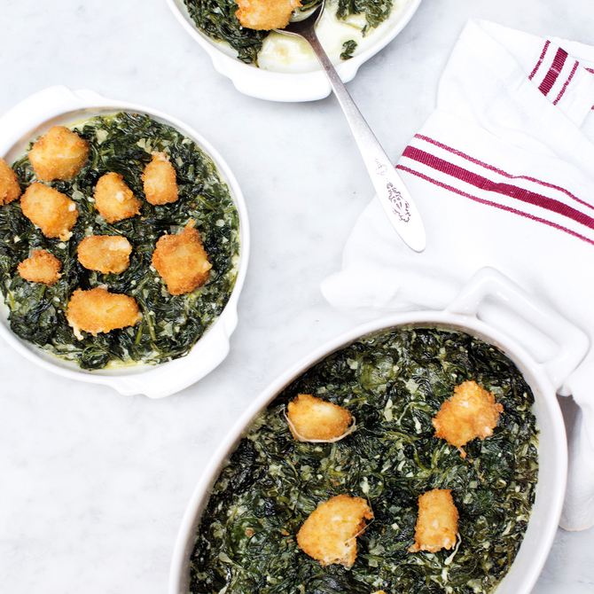 Food & Wine: Creamed Spinach with Fried Cheese Curds