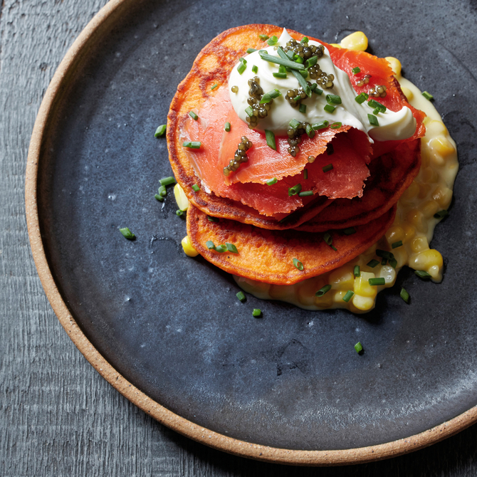Food & Wine: Red Pepper Blini with Creamed Corn and Smoked Salmon