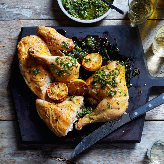 Food & Wine: Roast Chicken with Salsa Verde and Roasted Lemons