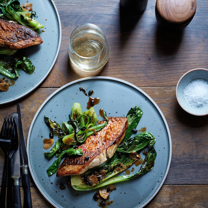 Food & Wine: Snapper with Black Beans and Bok Choy