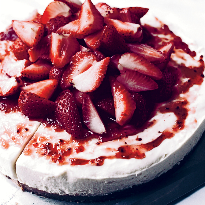Food & Wine: No-Bake White Chocolate Cheesecake with Strawberries