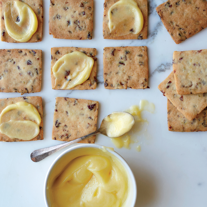 Food & Wine: Cranberry-Lime Shortbread Cookies with Lime Curd
