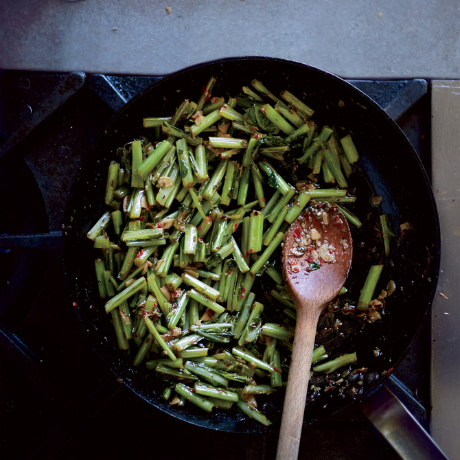 Food & Wine: Cumin-and-Chile-Braised Collard Green Stems