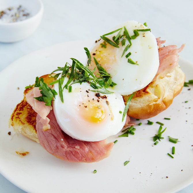 Food & Wine: Open-Face Egg and Griddled Ham Breakfast Sandwiches