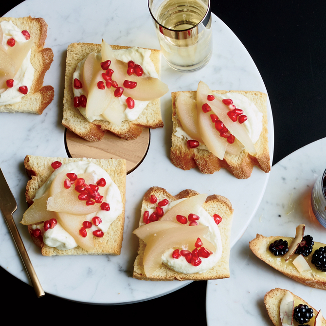 Food & Wine: Whipped Vanilla Ganache Toasts with Pear and Pomegranate