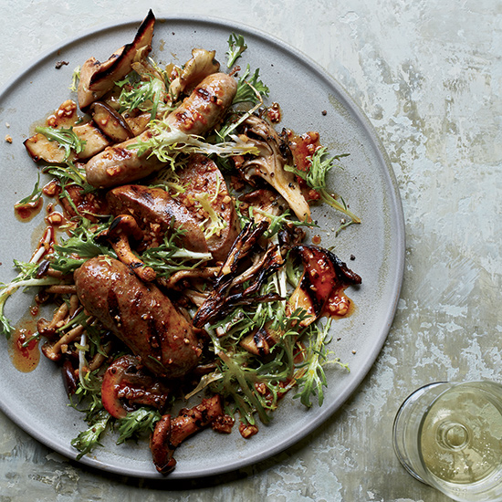 Food & Wine: Grilled Mushrooms and Sausages with Pimenton Vinaigrette