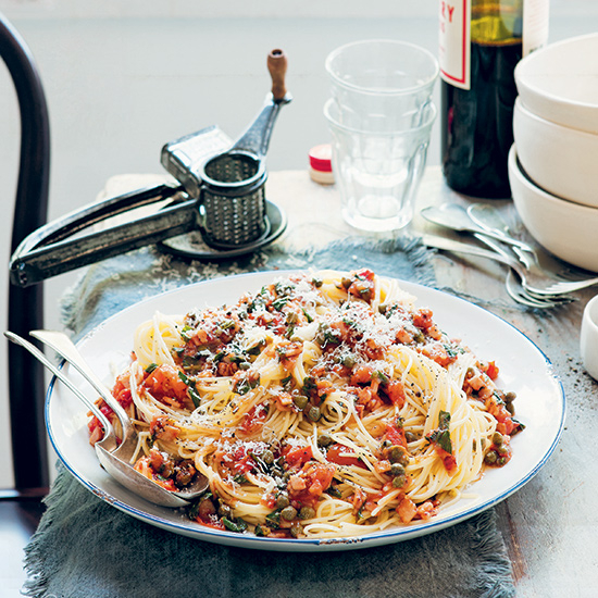 Food & Wine: Spaghetti with Bacon, Capers and Mint