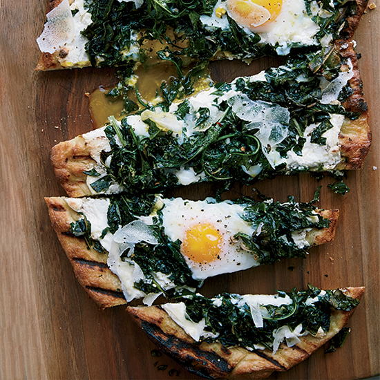 Food & Wine: Grilled Pizza with Greens and Eggs