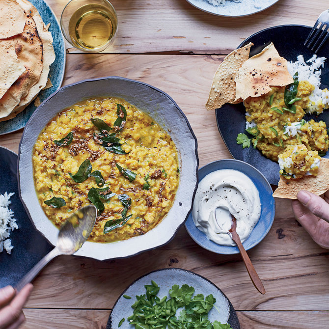 Food & Wine: Red Lentil Dal with Rice Yogurt and Tomatoes