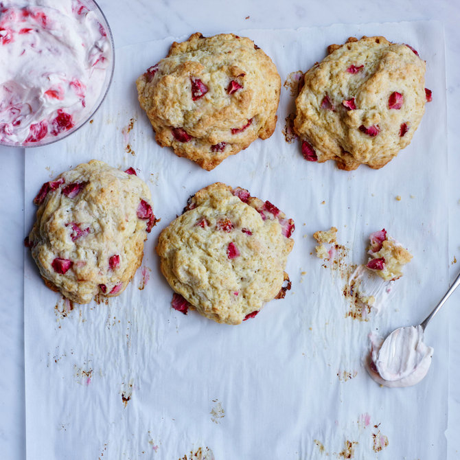Food & Wine: Strawberry Creme Fraiche Biscuits