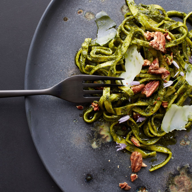 Food & Wine: Tajarin with Grilled Kale Pesto