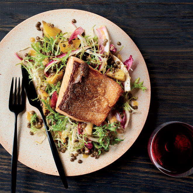 Salmon with Lentil Beet Salad