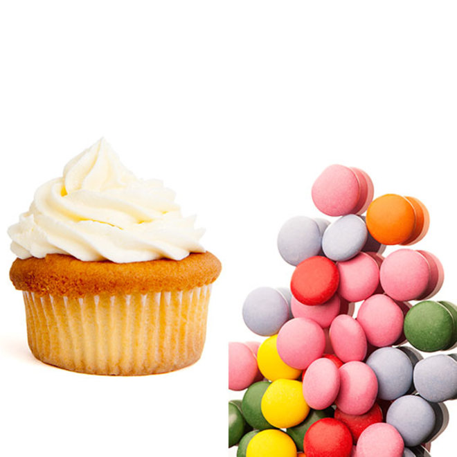 a cupcake and M&M's