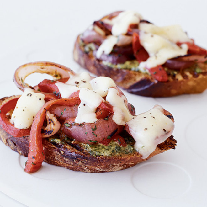 Food & Wine: Grilled Cheddar Toasts with Red Onions and Peppers