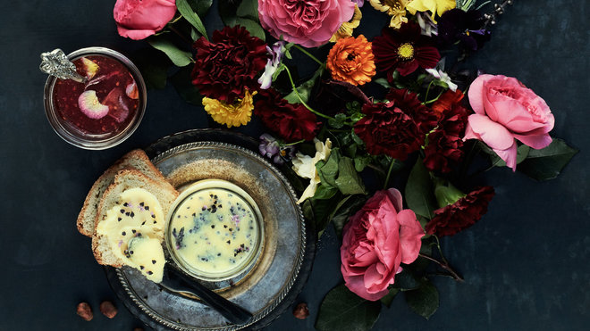 Butter with Basil Blossoms