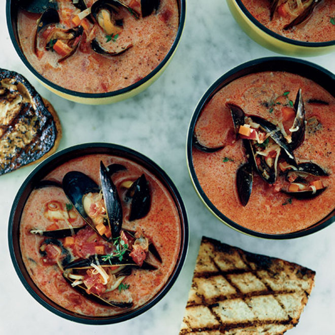 Food & Wine: Mussel and Chorizo Soup