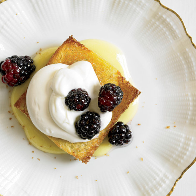 Food & Wine: Whipped cream on brioche with berries.
