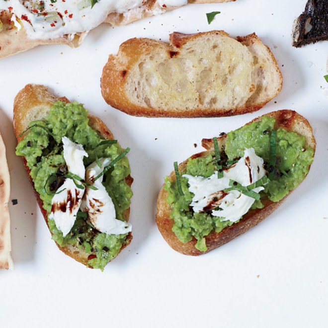 Food & Wine: Bruschetta with Mozzarella and Smashed Fava Beans