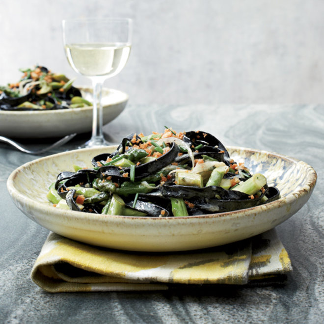 Food & Wine: Squid Ink Pasta with Asparagus