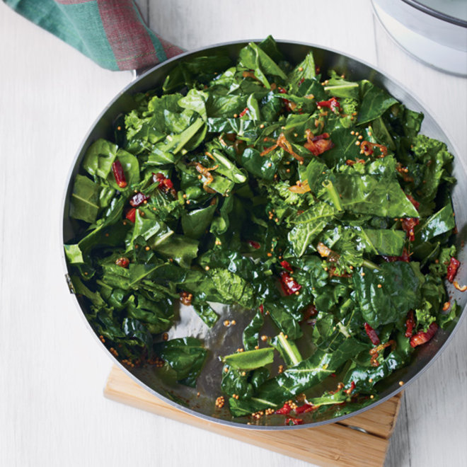 Food & Wine: Sautéed Spring Greens with Bacon and Mustard Seeds