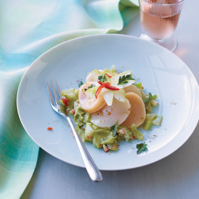 Food & Wine: Daniel Boulud's Scallop Rosettes with Avocado