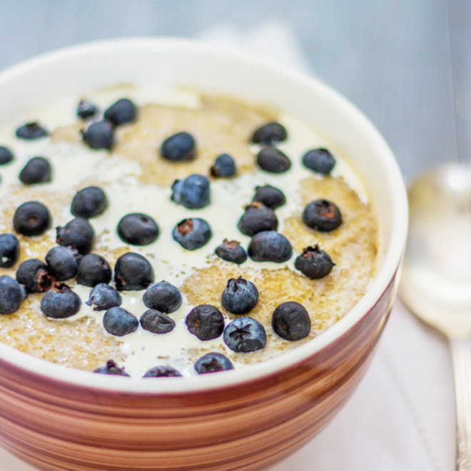 Food & Wine: A bowl of amaranth cereal with blueberries
