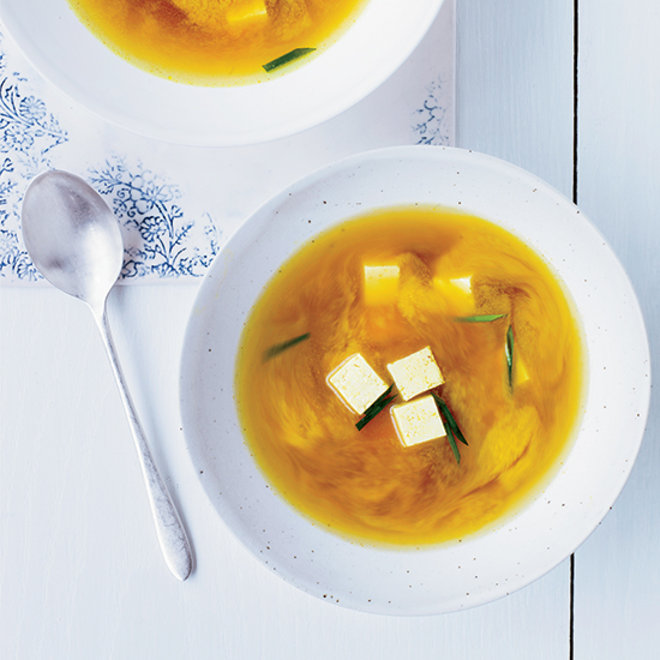 Food & Wine: A bowl of miso soup with yellow turmeric and tofu