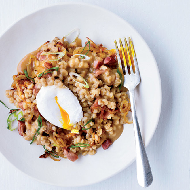 Food & Wine: pearl barley porridge with ham and eggs