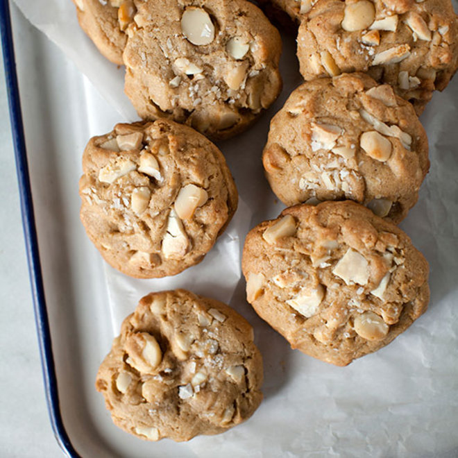 Food & Wine: Crispy, chewy cookies with white chocolate chips and macadamia nuts.