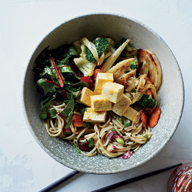 Food & Wine: A bowl of soba noodles with vegetables