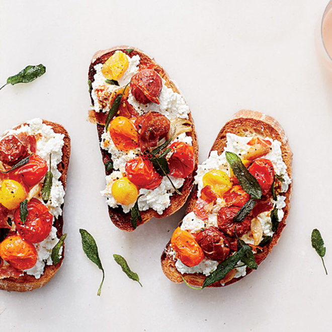 Food & Wine: Bruschetta with ricotta, roasted tomatoes and pancetta