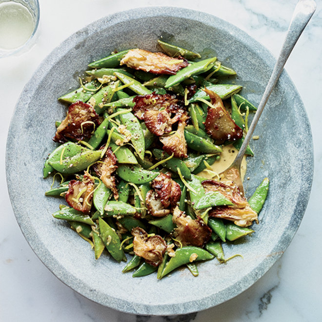 Food & Wine: Sugar Snap Peas and Oyster Mushrooms in Sherried Cream