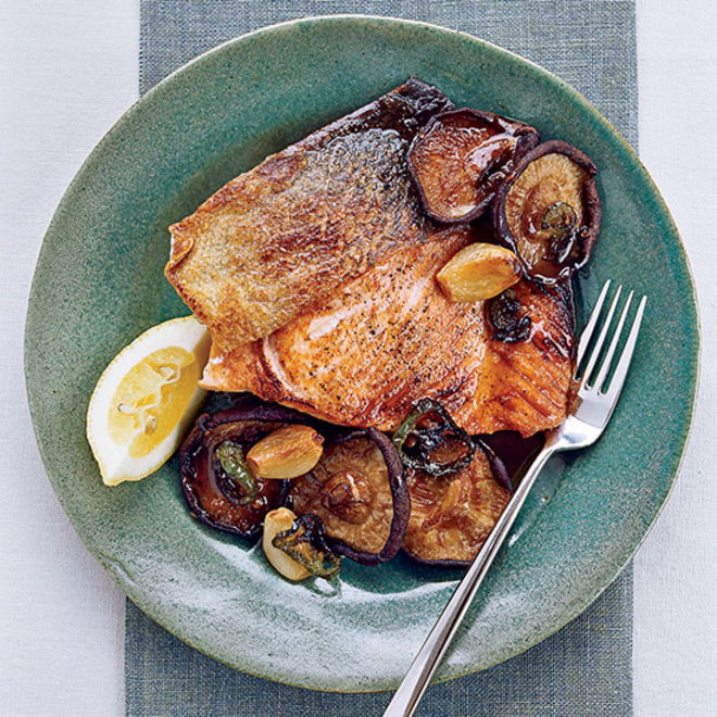 Food & Wine: Salmon with Roasted Shiitakes and Mushroom Sauce