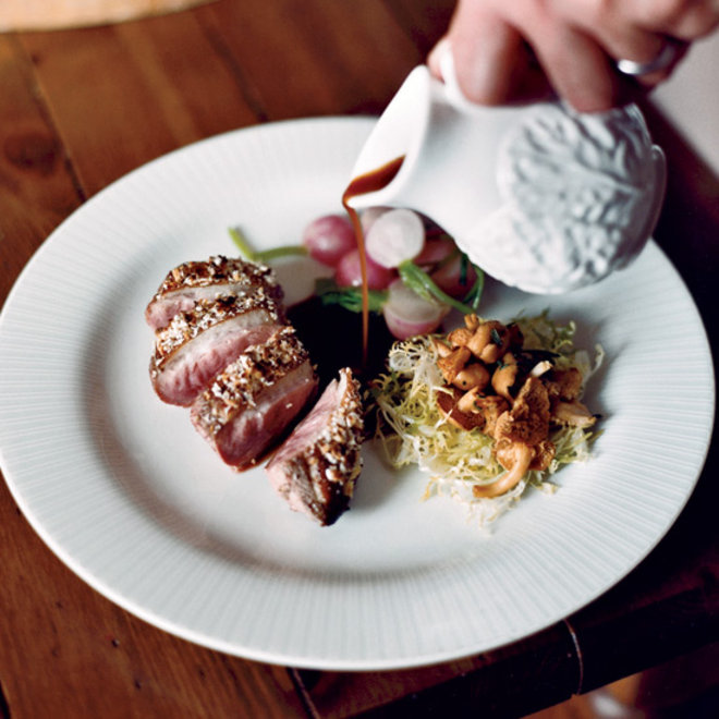 Food & Wine: Crunchy Almond-Crusted Duck Breasts with Chanterelle Salad