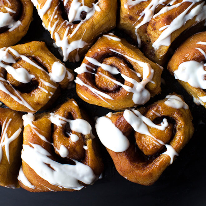 Pumpkin Cinnamon Rolls with Coconut-Orange Marmalade Frosting