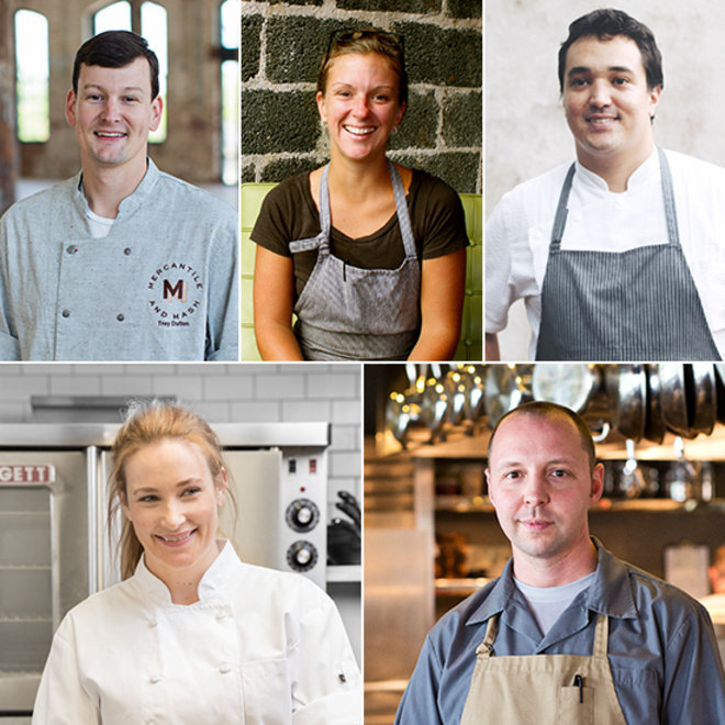 Food & Wine: Charleston chefs (clockwise from top left) Trey Dutton, Emily Hahn, Jason Stanhope, Nate Whiting and Amalia Scatena
