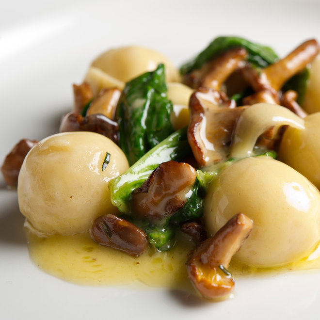 FWX RICOTTA GNOCCHI WITH CHANTERELLES AND BLOOMSDALE SPINACH