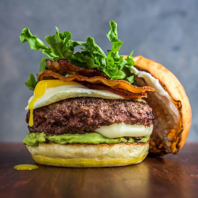 FWX STACKED BREAKFAST BURGER WITH GUAC